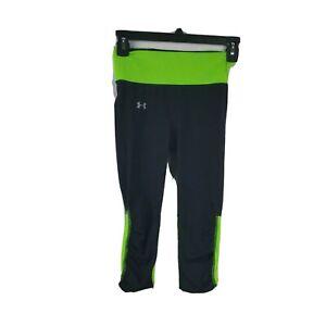 Under Armour Women Heat Gear Capri Leggings Size XS Black Green Midrise Running