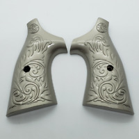 Custom Smith & Wesson Scroll Metal Grips - K-Frame Square Butt brushed Nickel