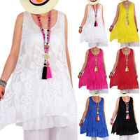 Women's Boho Sleeveless Lace Crochet Tunic Dress Summer Casual Baggy Long Tops