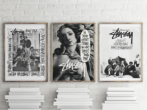 Pack of 3 Stussy Fashion Ads Prints, Wall Art, Vintage Prints, Gallery Wall