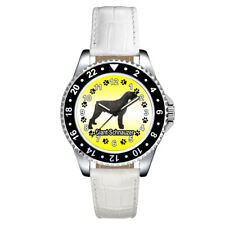 Giant Schnauzer Dog Paw Unisex Casual Mens Ladies Leather Strap Wrist Watch