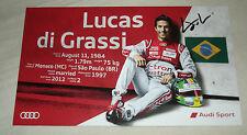 Le Mans 2015-FIA WEC-Audi R18-Lucas di Grassi tarjeta firmada