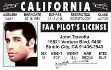 John Travolta FAA Pilot's License Drivers License - star of Saturday Night Fever
