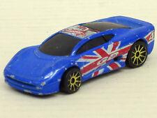"JAGUAR XJ 220 in blu, start-N. 4 ""Union Jack"" senza imballaggio originale, Hot Wheels, 1:64"