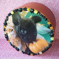 """Handmade Halloween Orange & Black Puppy Dog Paper Mache Gift Storage Box 8"""""""