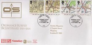 1991 ORDNANCE SURVEY BICENTENARY FIRST DAY COVER FDC - TOWER OF LONDON POSTMARK