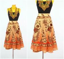 Vtg 70s Deadstock India wrap skirt Indian block print Lurex rainbow Metallic