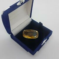 VINTAGE 70s Glass Brooch Graduated Yellow Clear Faceted Rectangle Collar Pin