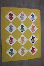"Sunbonnet Sue Handmade Quilt 56""x74"" Yellow Machine pieced & quilted 100% cotton"