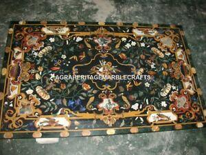4'x3' Green Marble Pietradura Dining Table Furniture Art Inlay Patio Decor H3140