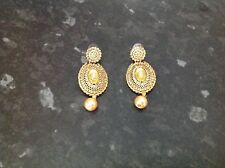 Ladies Indian Bollywood gold diamante rose gold pearl earrings party wedding wea