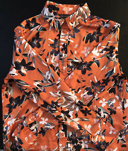 Marks and Spencer Collection Long Sleeve Satin Blouse / Shirt Size 10 Floral