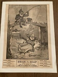 Original Old Antique Print Advert Swan White Floating Soap 1859 19th