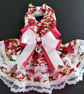 DOG HARNESS DRESS   RED FLOWERS WITH MATCHING HAIR BOW FREE SHIPPING