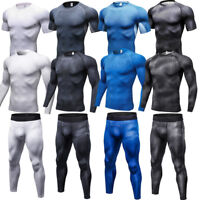 Men's Compression Tights Athletic Base layers Pants Gym Shirts Moisture Wicking