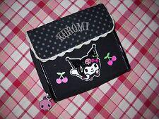 SANRIO Kuromi Bifold Wallet Black Fabric Polka Dot Applique Embroidery Snap Flap