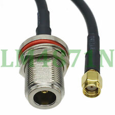 cable N female bulkhead to RP.SMA male jack crimp KSR195 3FT Jumper pigtail