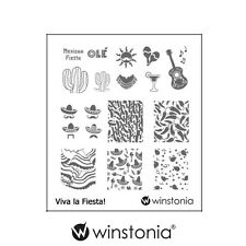 Winstonia Nail Art Stamping Plate Viva la Fiesta Polish Mexican Cactus FUN Party