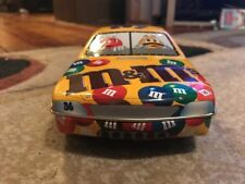 "M&M's #36 Race Car Yellow Tin Canister Candy Dish Good Condition 10"" - NASCAR"