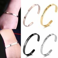 Stainless Steel DIY Personalized Custom Engraved Name Bangle Bracelet Lover Gift