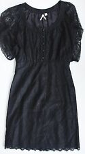 Anthropologie LACE DRESS by MAEVE Black Sheer Sleeves 4 Holiday Party