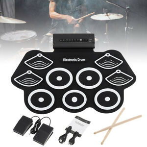 Roll-Up Silicon Drum Set USB Digital Electronic Drum Kit 9 Pad for Beginner Kids