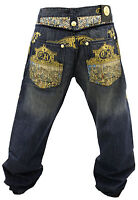 NWT AUTHENTIC MEN'S CROWN HOLDER MELLOW BLUE AND GOLD COLOR JEANS HR58731