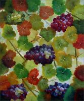 Grapes on Vine, Quality Hand Painted Oil Painting, 20x24in