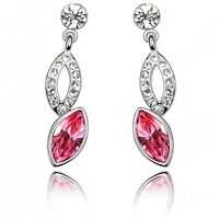 18K White Gold Plated Made With Swarovski Crystal Marquise Cut Pink Earrings