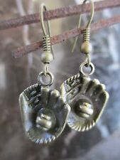 Petite Adorable Bronze Baseball Softball Glove Handcrafted Earrings-Sports NBL