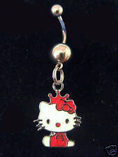 "Hello Kitty Red Crowned charm  belly ring 3/4"" charm 316L"