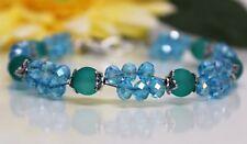Glass Jewels Silber XL Armband Perlen Blau Petrol Zweireihig Länge 22 cm #GA037