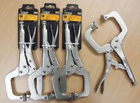 "Lot of (4) 11"" Locking C Clamp Pliers Swivel Jaw Pad Vise Grip Welding Tool"