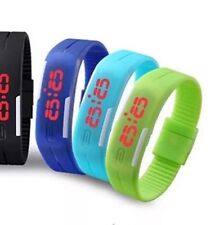 Lime Green Digital Unisex Sports Watch With Time And Date On A Rubber Strap.