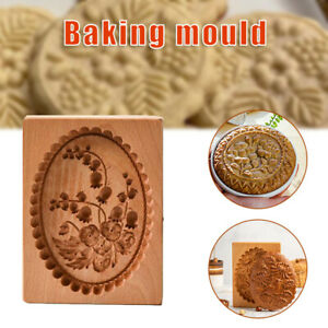 Gingerbread Mould Carved Wooden Baking Biscuit Mold DIY For Kitchen Tools AU NEW