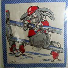 Vintage Childrens Childs Hanky Hankie - Tom Lamb Baseball Chicks Bunny