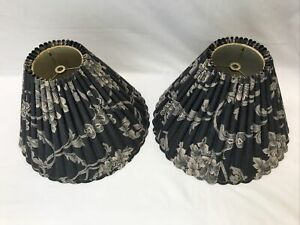 """Vtg Pair 2 Gray Black Beige Scalloped Pleated Bell Lamp Shades Floral 14""""x10""""x5"""""""