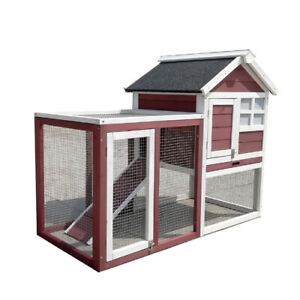LARGE Rabbit Guinea Pig Ferret Coop House Hutch Cage With Run D51