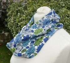 Cowl/snood Scarf in Liberty Tana Lawn 'Osaka' blue green ivory stylised flowers