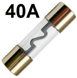 5 x AGU Sicherung Glassicherung vergoldet 40 Ampere Set für KFZ Auto Verstärker
