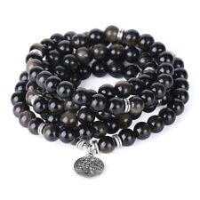 Bracelet mala tibétain 108 perles 90 cm obsidienne méditation bouddhiste
