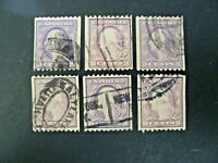 USA Lot of 6 Wash-Franklin 1916-22 Issue #489 Used - See Description & Images