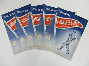 (5) Vintage 1950's Song of the Milwaukee Braves Sheet Music Baseball J. Krumdick