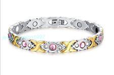 Fashion Stainless Steel Energy Magnetic Germanium CZ Women Health Care Bracelet