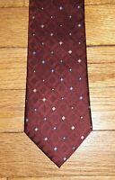 Joseph Abboud Tie Silk Geometric Diamond Maroon Blue Tan Charcoal NIB t4565