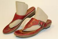 Dansko 6311381400 Womens 37 6.5 7 Red Leather Thongs Sandals Flats Shoes