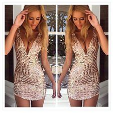 Women Sexy Paillette Deep V Neck Bodycon Dress Bling Bling Party Nightclub Dress