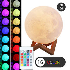 3D Moon Lamp USB LED Night Light Moonlight Touch Sensor 16 Color Changing Remote
