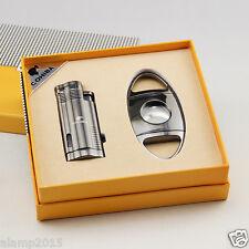 COHIBA Black Metal 3 Torch Jet Flame Cigar Lighter With Cigar Cutter Cigar Set