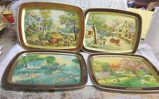 Currier And Ives American Homestead 1868 - 4 Trays Depicting The 4 Seasons